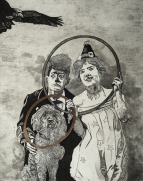 "DebiLynn Fendley, Jumping Through Hoops, Etching, soap ground aquatint, 14""x 11"" http://www.debilynnfendley.com"