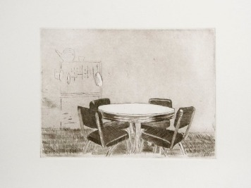 "Ruben Bryan Castillo, Dining Room Table, Etching with aquatint, 10""x 11.5"" http://rubenbcastillo.tumblr.com"