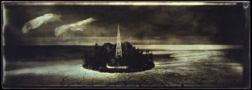 """Sean Culver, Panorama Series: Island, Gilded mercurial daguerreotype, 2.5""""x 7"""" http://seanculver.com"""