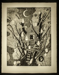 "Joe Carr, Treehouse, Copper etching, 22""x 29"" http://antiquatedpress.com"