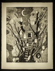 "Joe Carr, Treehouse, Copper etching, 22""x 29"" http://antiquatedpress.com"