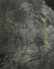 "Adreena Cook, Boundary 003, Graphite, ink, intaglio, linocut print stretched on wooden panel, pins, and string, 14""x 11"" http://adreenacook.com"