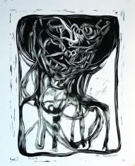 """Caleb Harman, Portrait II, Block print, 11""""x 14"""" http://www.csharman.com"""