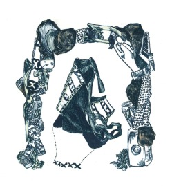 "Kate Horvat, Grocery Bag, Stone lithograph, 10""x 8"" http://katehorvat.com"