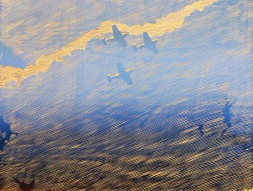 "Nicholas Naughton, Flyover, Unique silkscreen on wood, 18""x 24"" http://nicholasnaughton.com"