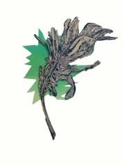 "Lindsey Schmitt, Feather, Woodcut relief matrix mounted on screen print panel, 5""x 10"""