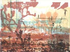 Ren Adams, Mojave (always), layered serigraph and monotype, http://www.renadamsart.com