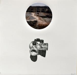 Kristen Bartel, American Dream: Splitter, Stone Lithography with collaged inkjet print on cotton paper. http://www.kristenbartel.com