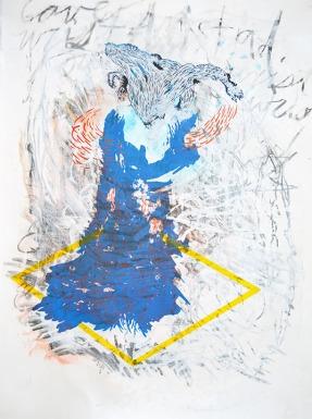 Ryan Cronk, Leverage (Corporeal), Screen print, gouache, fiber paper, charcoal. http://www.ryancronk.com
