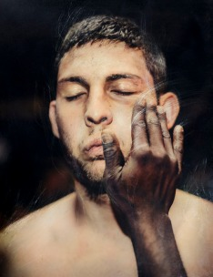 Antonio Jacob Martinez, How to Hug and Other Sublimations of Men 1, Varnished and hand scratched archival pigment print. http://www.antoniom.com/#!/index/G0000EfFDLaN.jh0