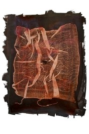 Anikke Myers, Sanguinary (Handkerchief), Salted paper print with the artist's blood. http://anikkemyers.com
